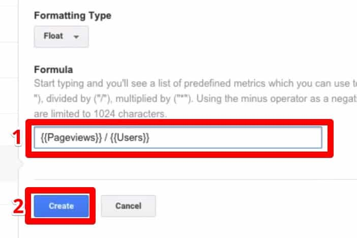 Creating a Formula for the new custom metric that contains number of  pageviews per user