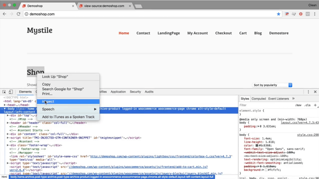 Developer Tools Inspect location