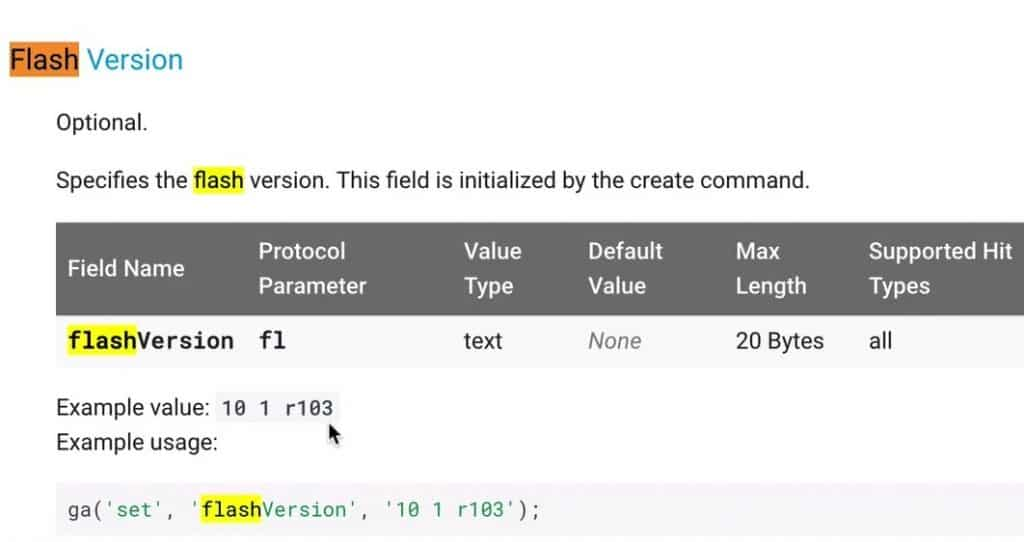 Flash Version  in the  Analytics.js Field Reference where you can see a field name flashVersion with Value Type text and Max Length of 20 Bytes