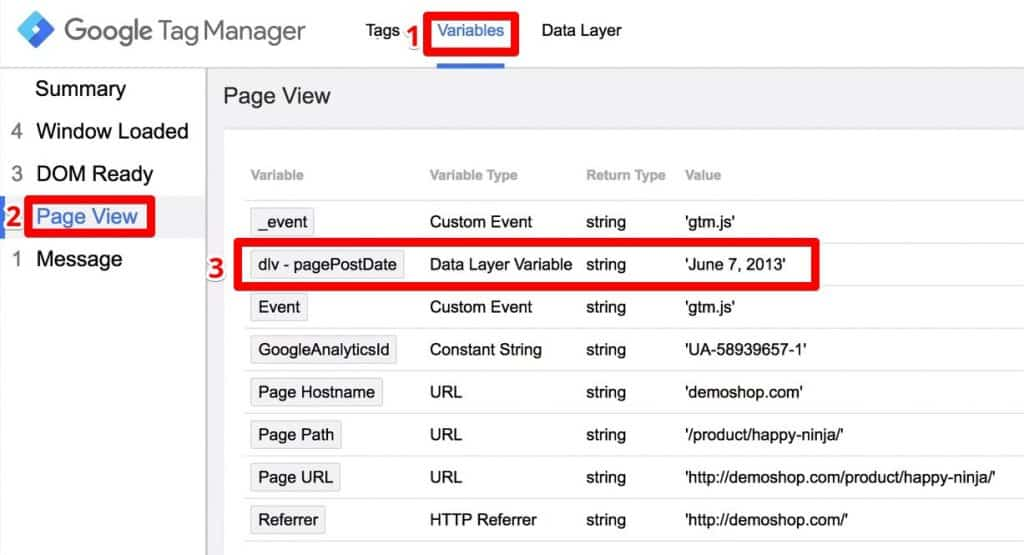In Google Tag Manager, Page View under Variables, Data Layer Variable  pagePostDate is available