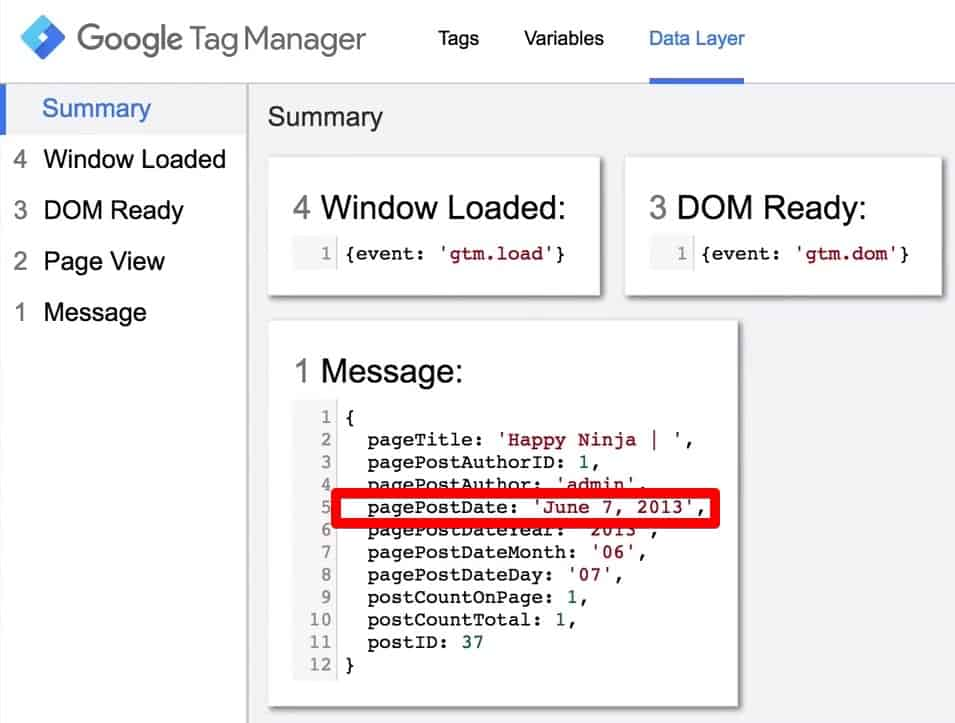 In the Google Tag Manager Data Layer we will find the pagePostDate June 7 ,2013
