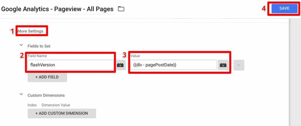 Setting up fields by adding information needed in sending Information to Google Analytics as the Fieldname and its Value