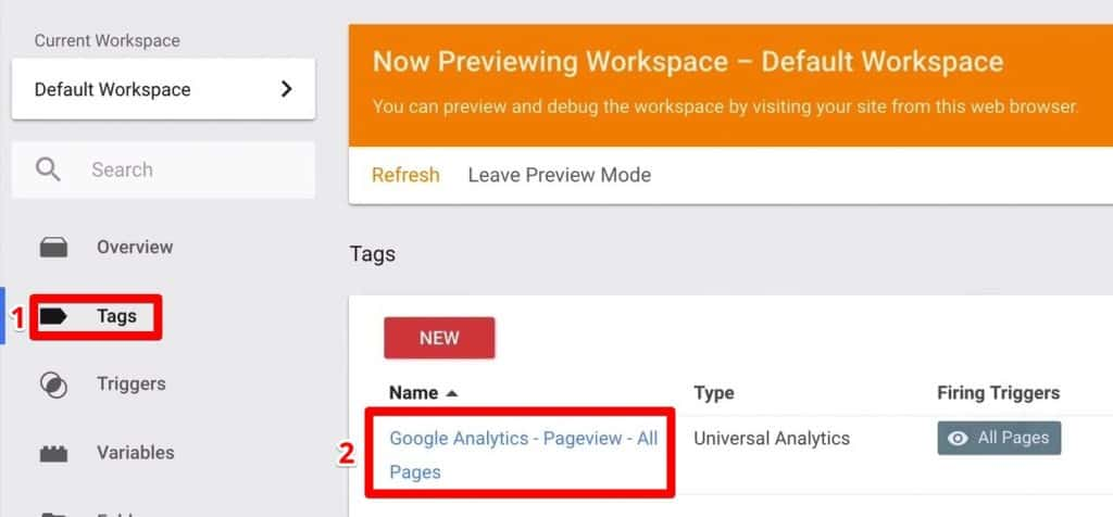You can find the Google Analytics - Pageview -All Pages to modify under Tags