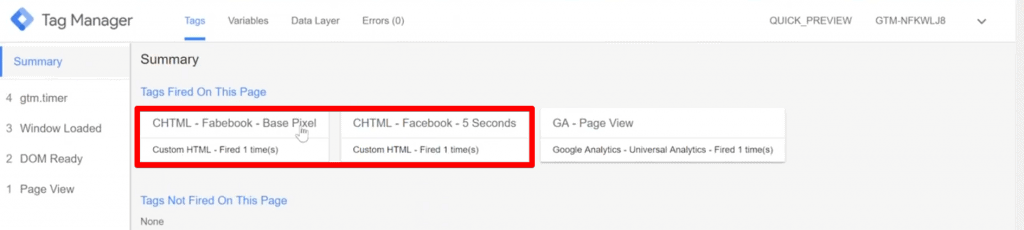 Base Facebook Pixel Tag and Facebook five-second delay Tag firing on the website
