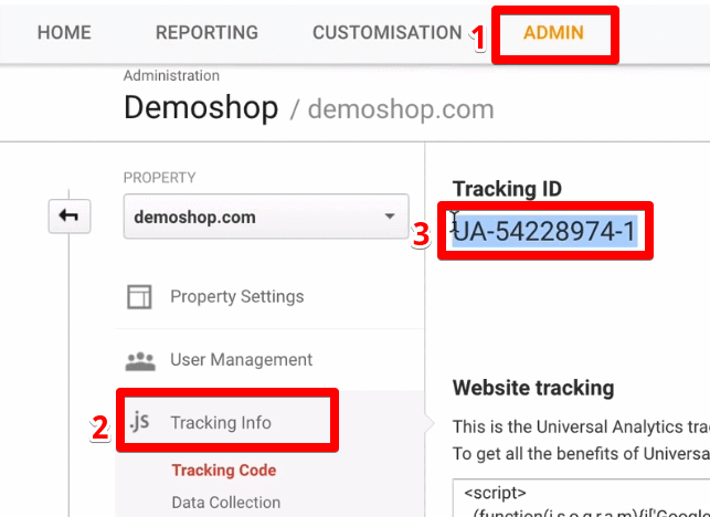 Accessing the Tracking ID for the Google Analytics refunds process