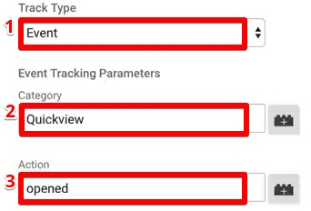 Adding the event parameters Track Type, Category, and Action for a universal analytics Tag in Google Tag Manager