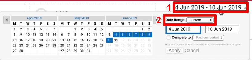 Custom Date Range for traffic tracking on Google Analytics