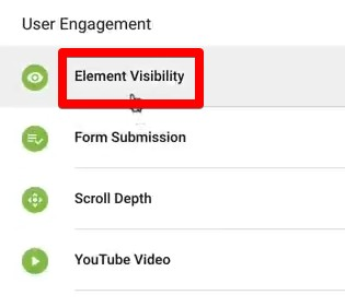 Element Visibility trigger for Google Tag Manager