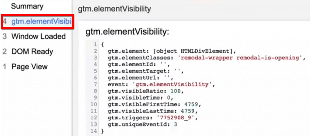 Element visibility fires data in the preview and debug console of Google Tag Manager