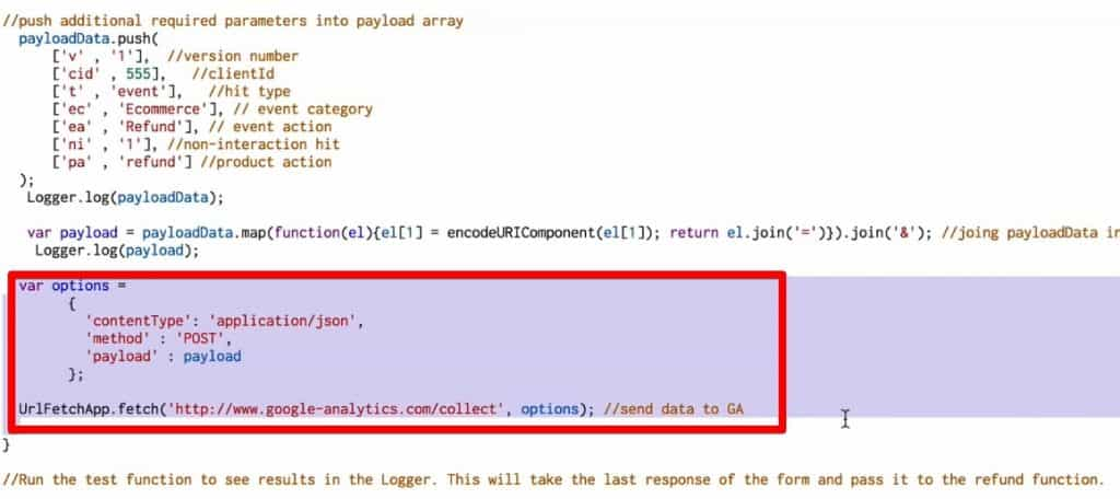 Google Apps Script code to map and send refund data to Google Analytics