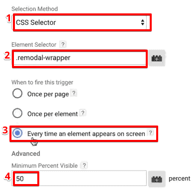 Setting up element visibility trigger for tracking popups in Google Tag Manager