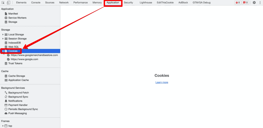 Developer Tools Application tab with Cookies waterfall menu in sidebar highlighted under Storage