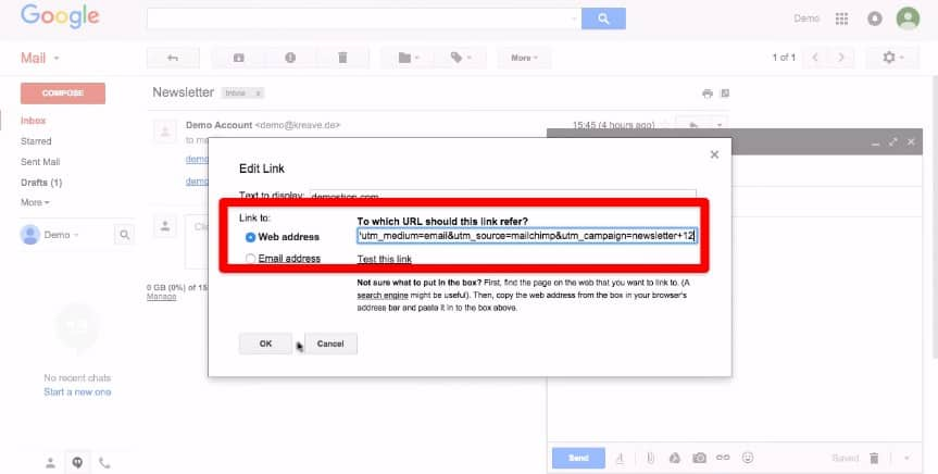 Adding the link to email marketing tool