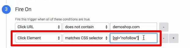 Defining our click element trigger for the CSS selector method in Google Tag Manager
