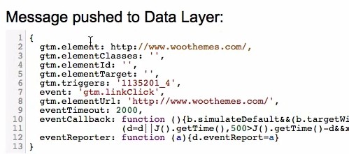 The link click event data pushed to the data layer of Google Tag Manager