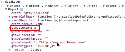 gtm.element for the link is a in the JavaScript Console of Google Chrome