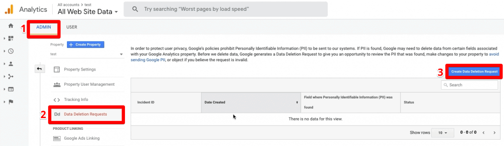 Deleting data from Google Analytics under Admin, Data Deletion Requests