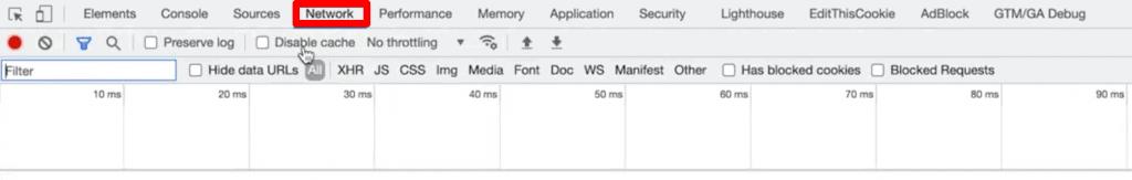 Developer Tools, Network tab