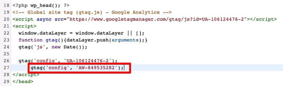 Adding Google Ads code after installing Global Site Tag to your website