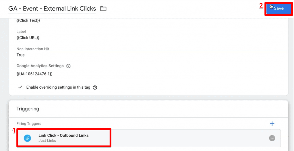 Adding a trigger to the Tag in Google Tag Manager for tracking outbound links
