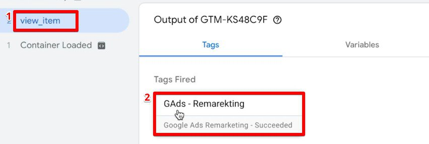 Checking the Tag information for view item event in Google Tag Assistant for dynamic remarketing