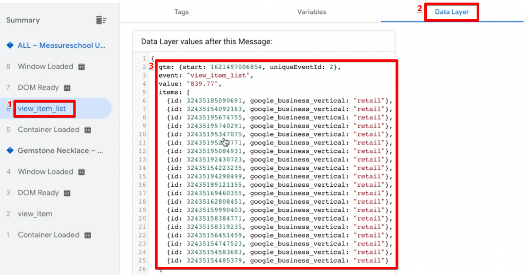 Checking the data layer information for view item list event with multiple products in Google Tag Manager