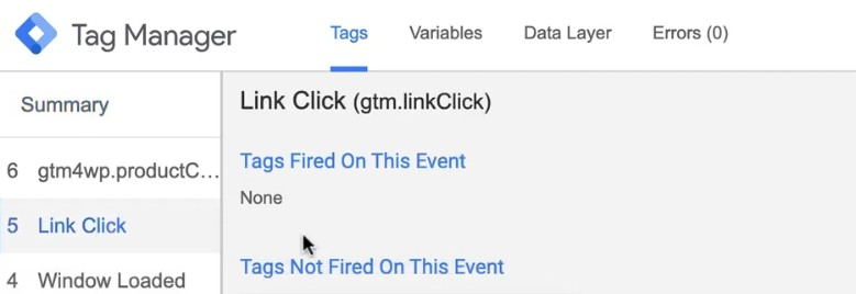 Checking the fired Tag results for inbound links in the debug console of Google Tag Manager
