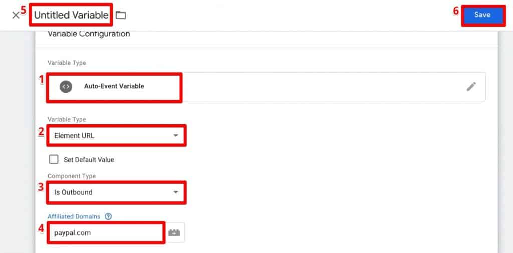 Configuring a new variable on Google Tag Manager to track outbound link clicks