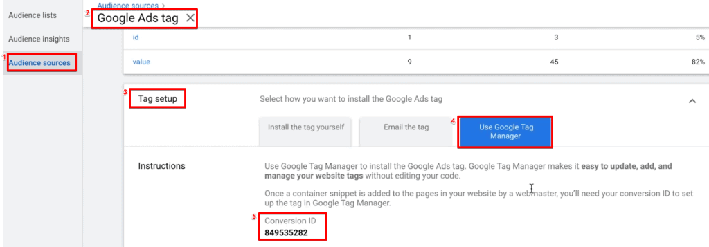Copying the Conversion ID from the Google Ads Tag in the Google Ads account