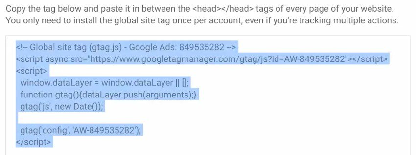 Copying the  Global Site Tag standard code to paste into the head section of your website