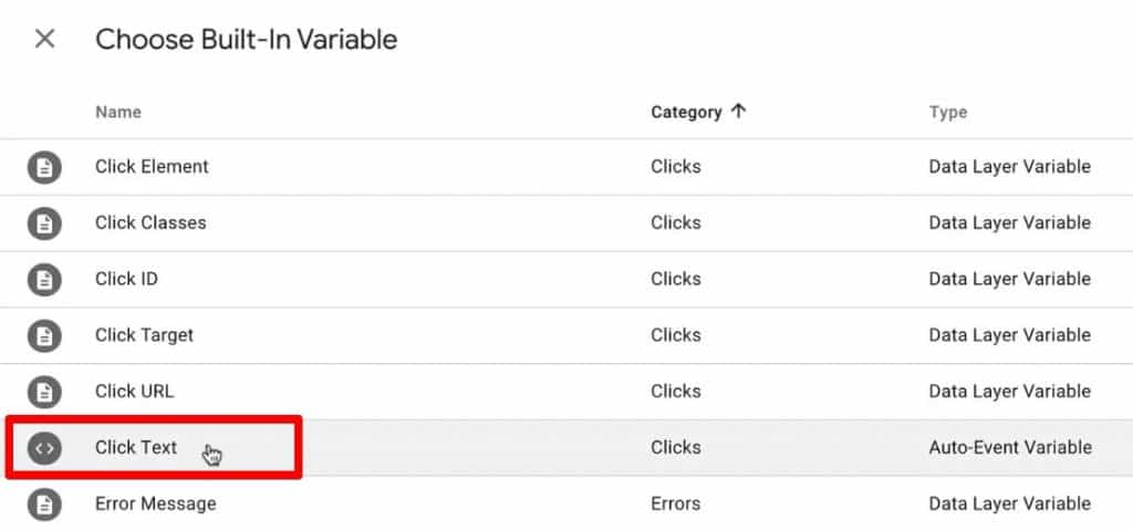 Creating a new Built-In variable of Click Text type in Google Tag Manager
