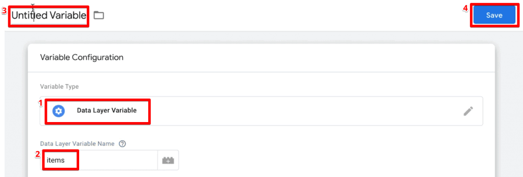 Creating a new data layer variable for product items in Google Tag Manager