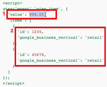 Data layer code shows information about the value and id of the product