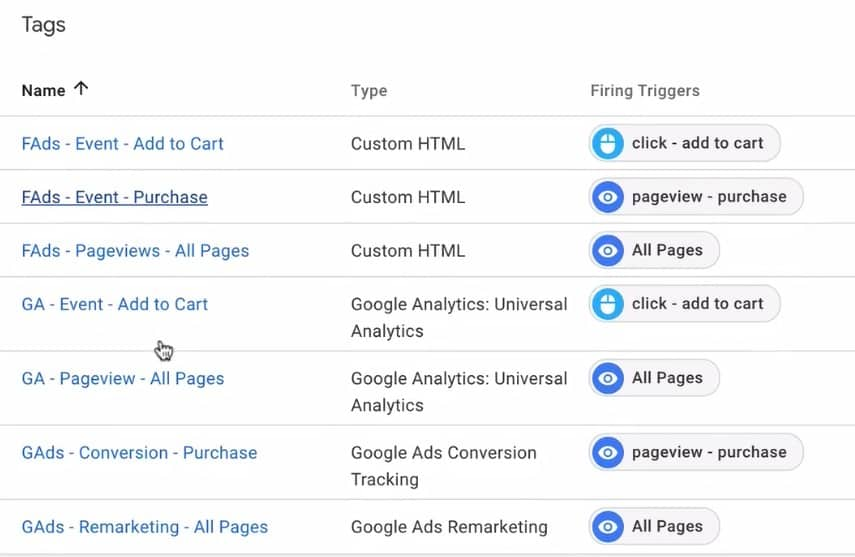 Different types of Tags in Google Tag Manager