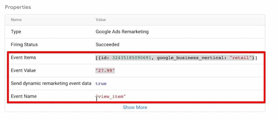 Event data for view item event in Google Tag Assistant for dynamic remarketing
