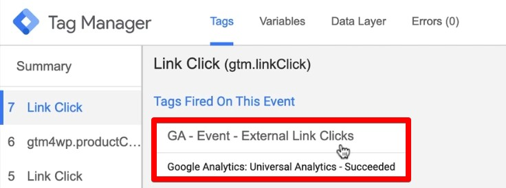 Event fires on outbound link clicks in the debug console of Google Tag Manager