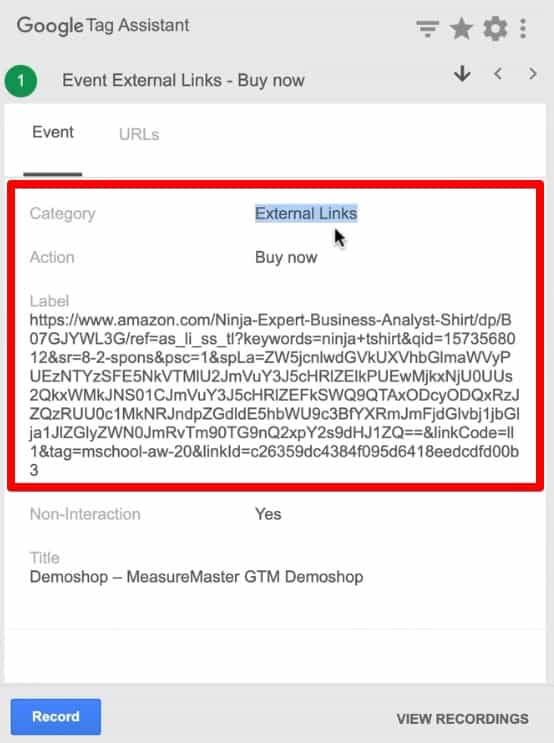 Event parameters sent to Google Analytics seen on Google Tag Assistant