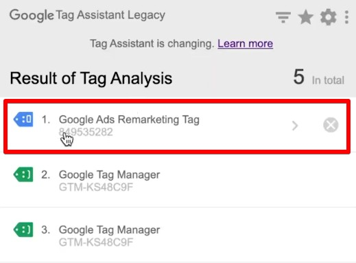 Google Ads Remarketing Tag in Google Tag Assistant Legacy
