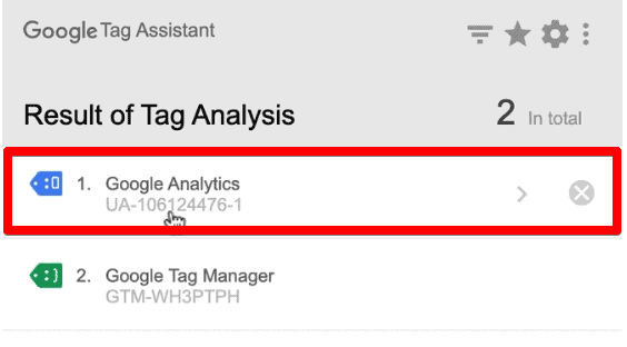 Google Analytics Tag fired in the Google Tag Assistant