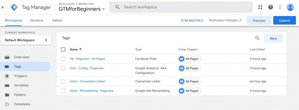 User-friendly interface of Google Tag Manager