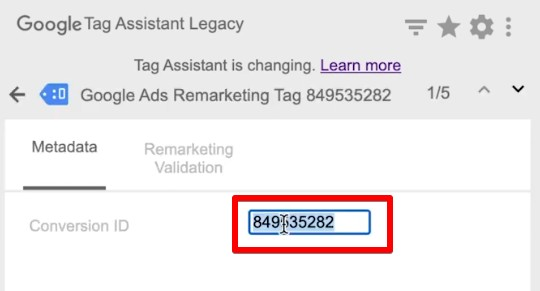 Verifying Conversion ID in Google Tag Assistant Legacy