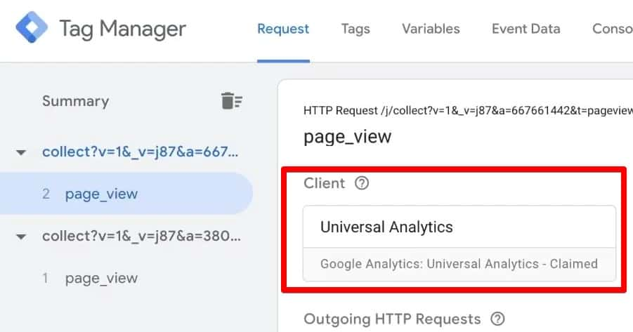 GTM preview console shows that Universal Analytics client has claimed the request