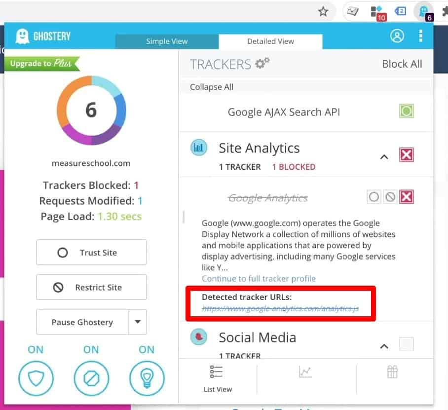 Ad blocker browser extension recognizes analytics.google.com and blocks tracking