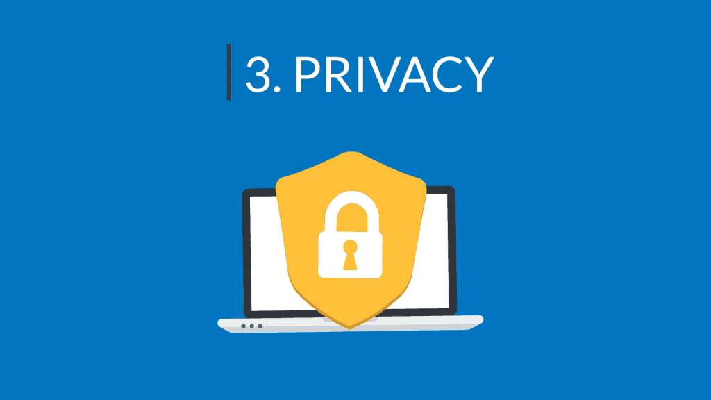 """Header image labeled """"3. Privacy"""""""