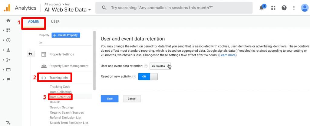 Google Analytics Data Retention settings under Admin, Tracking Info, Data Retention