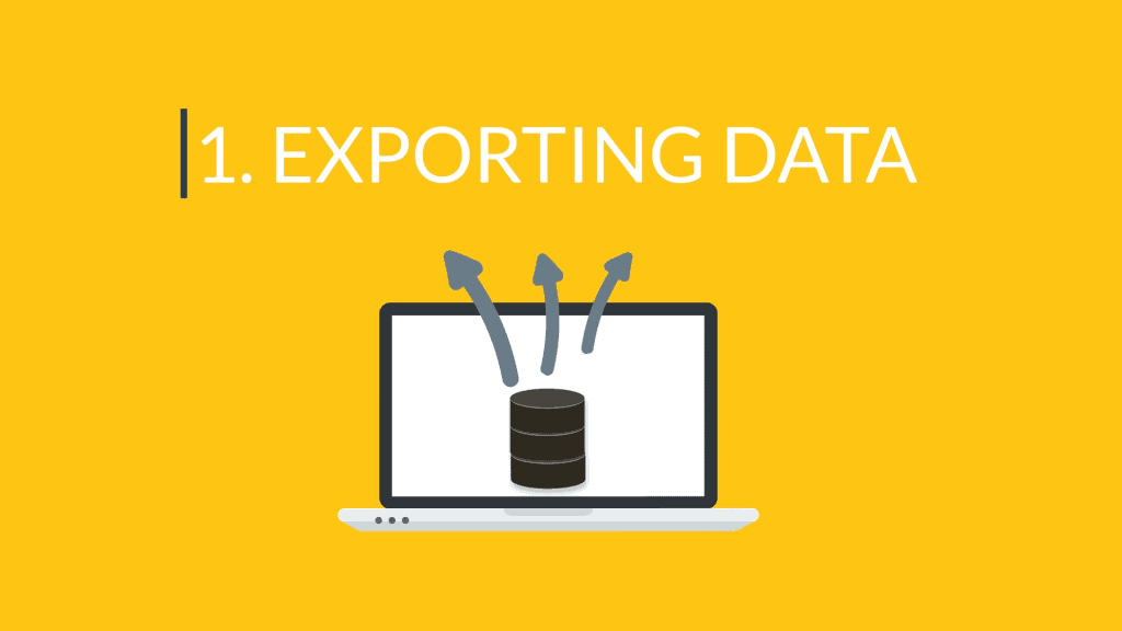 """Header image labeled """"1. Exporting Data"""""""