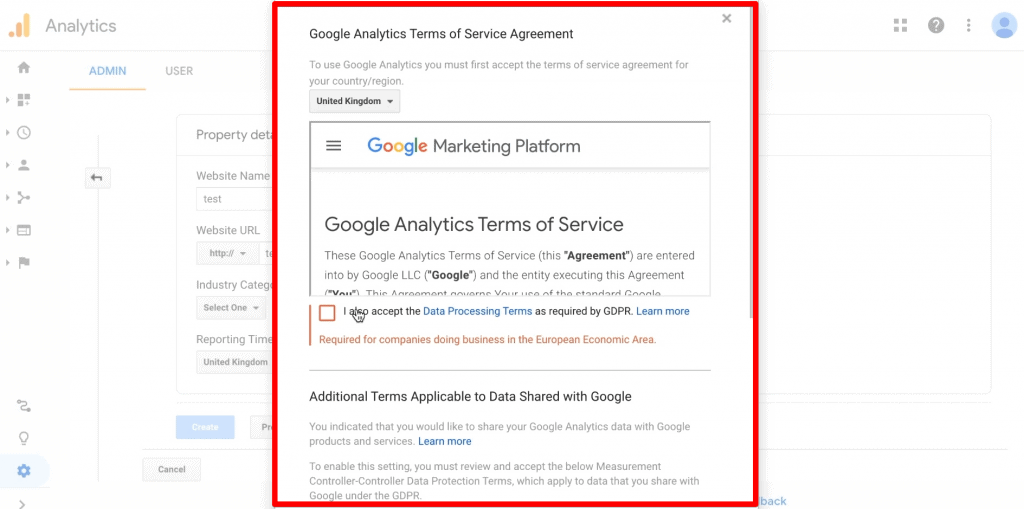 Google Analytics Terms of Service with Data Processing Terms added as required by GDPR
