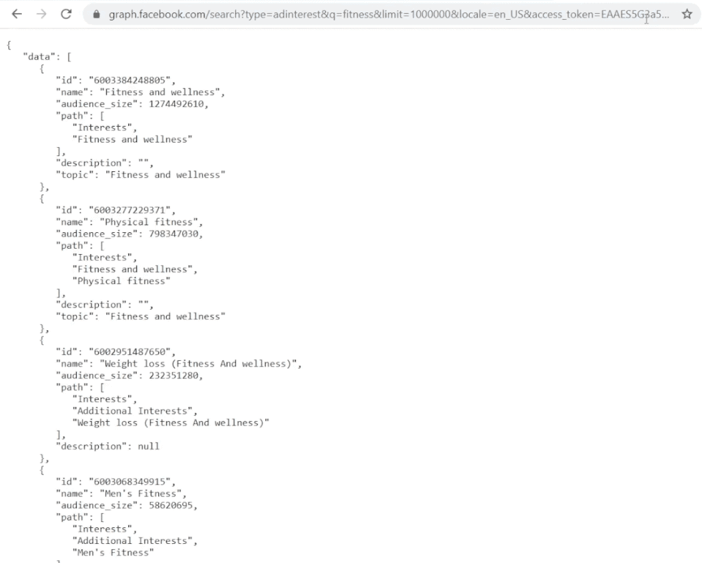 URL for getting the same Facebook audience interest suggestions as in the Graph API Explorer but in a tab as JavaScript
