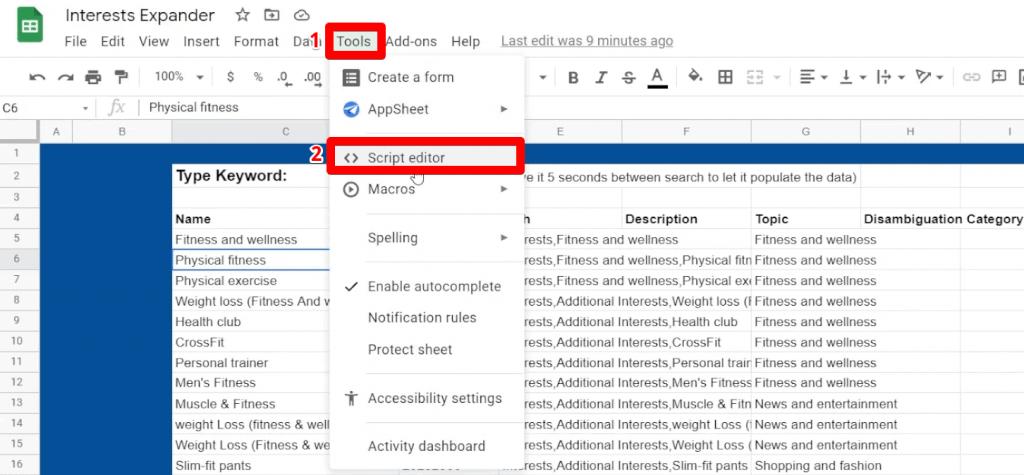Google Sheets Script editor under Tools menu