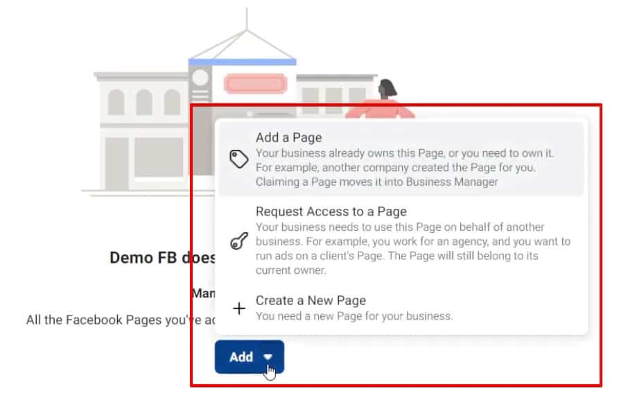 Add a Page, Request Access to a Page, and Create a New Page are options in Business Manager